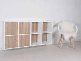 Stripe wandkast modulair 8-vaks wit en 4 deurtjes in 3D sonoma eiken