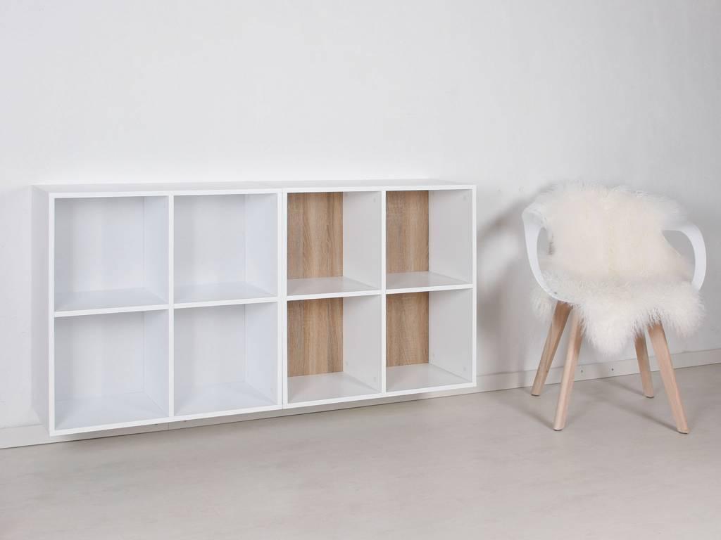Keuken Wandkast 8 : Stripe wandkast met vakken wit