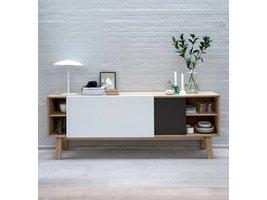 Miso dressoir met 2 schuifdeuren eiken / wit / staalgrijs