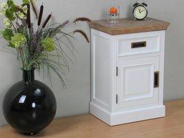 Marie nachtkastje met 1 lade en deur wit en white wash gebeitst - opgebouwd