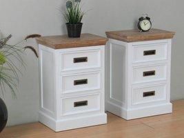 Marie nachtkastje met 3 lades wit en white wash gebeitst opgebouwd - set van 2 stuks