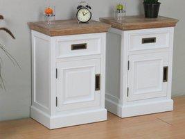 Marie nachtkastje met 1 lade en deur wit en white wash gebeitst opgebouwd - set van 2 stuks