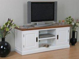 Marie TV-meubel met 2 deuren en open vak wit en white wash gebeitst - opgebouwd