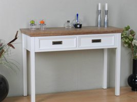 Marie sidetable met 2 lades wit en white wash gebeitst - opgebouwd