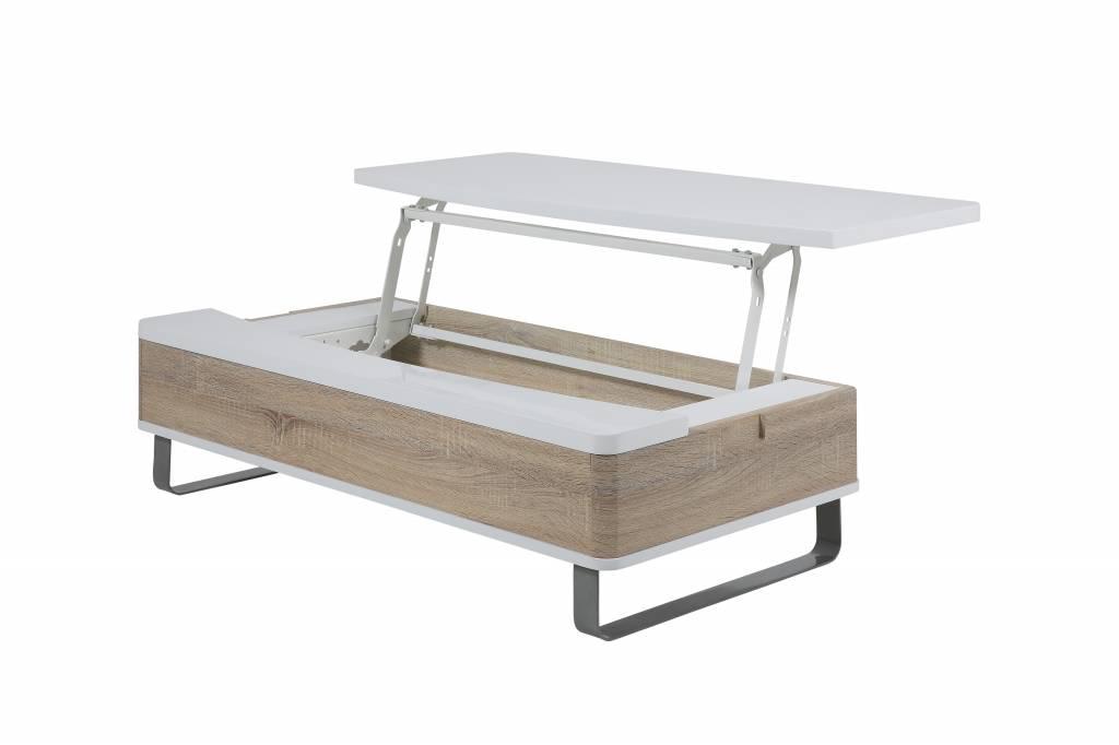 Tafel Met Opbergruimte : Pam salontafel met opbergruimte eiken en wit