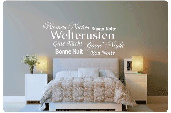 Muurtekst Welterusten 7 talen - Muurstickers en muurteksten van ...