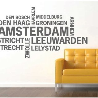 muurtekst nederlandse steden amsterdam muurstickers en