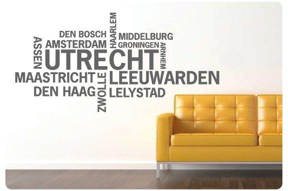 Muurtekst Nederlandse Steden, Utrecht - Muurstickers en muurteksten ...