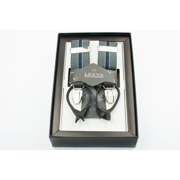 Luxe Grijze Bretels met blauwe streep