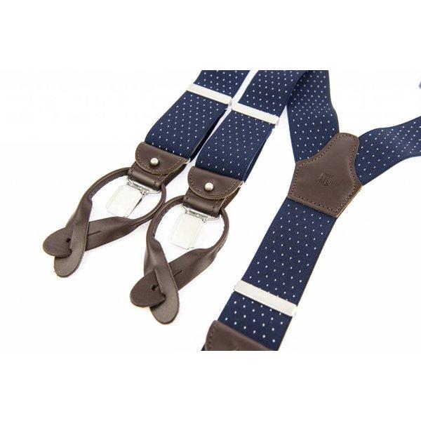 Luxe Blauwe Bretels met witte stippen