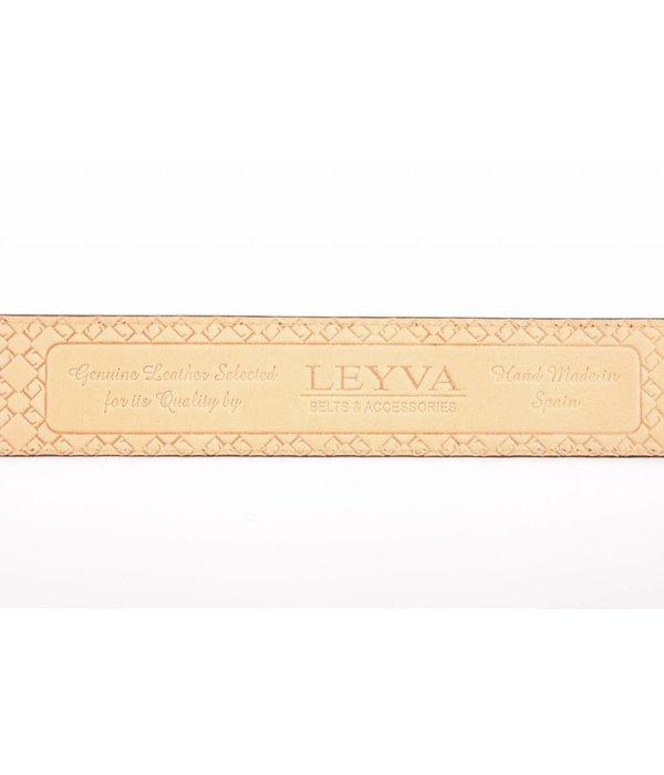 Leyva Cognac Leren Herenriem met Croco print