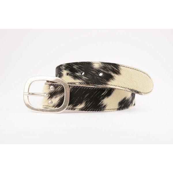 Elegante vintage zwart/wit koeienhuid riem