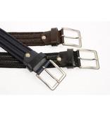 Alberto riemen Blauwe elastische riem van hoogwaardig leer