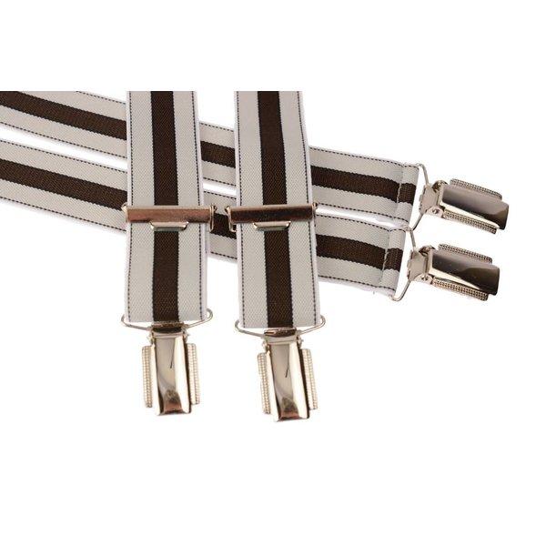 Grijs - bruin gestreepte bretel