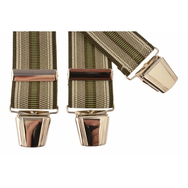 Groen - beige gestreepte bretels