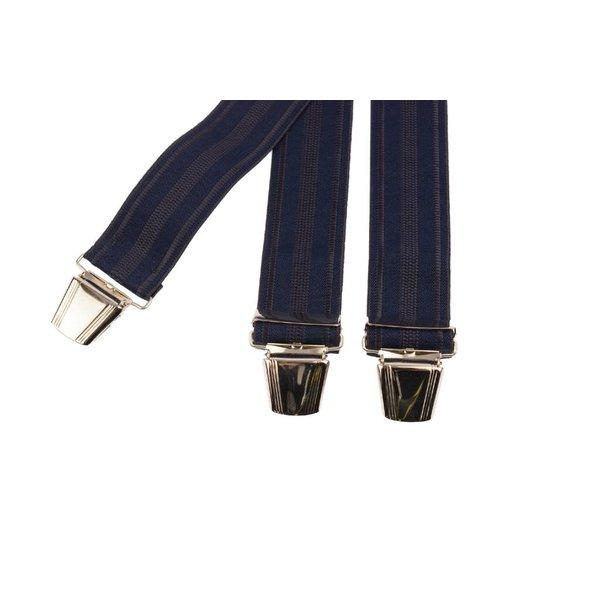 Blauwe bretels met gestreepte structuur