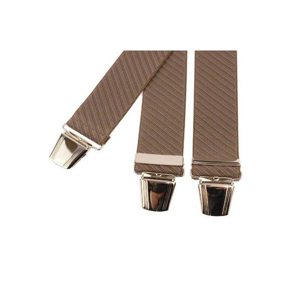 Bruine bretels met schuin gestreepte structuur