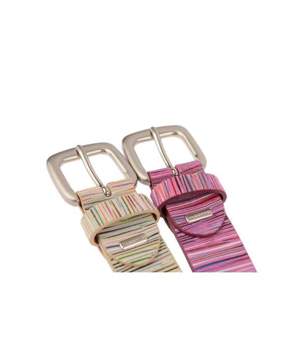 Alberto riemen Beige dames riem met kleurrijke strepen