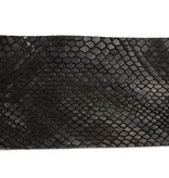 Alberto riemen Luxe navy riem met slangenstructuur