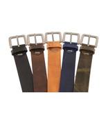 Alberto riemen Soepele riem met vintage structuur en donkerbruine kleur
