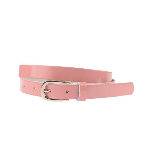 Smalle roze damesriem van lakleder