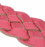 Alberto riemen Vrolijke roze / grijze reversible damesriem met gevlochten structuur en suède details