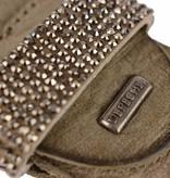 Depeche Grijze leren damesriem met zilveren steentjes op de lus