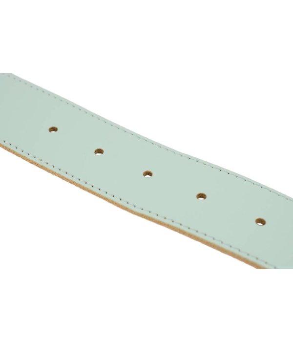 Doska luxe lichtblauwe damesriem met ovale gesp