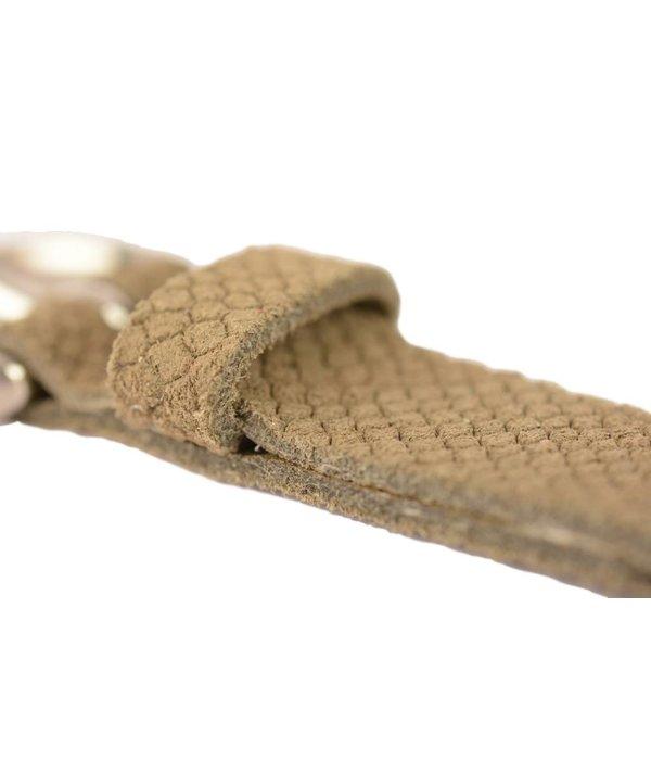 Doska smalle taupe damesriem met slangenstructuur
