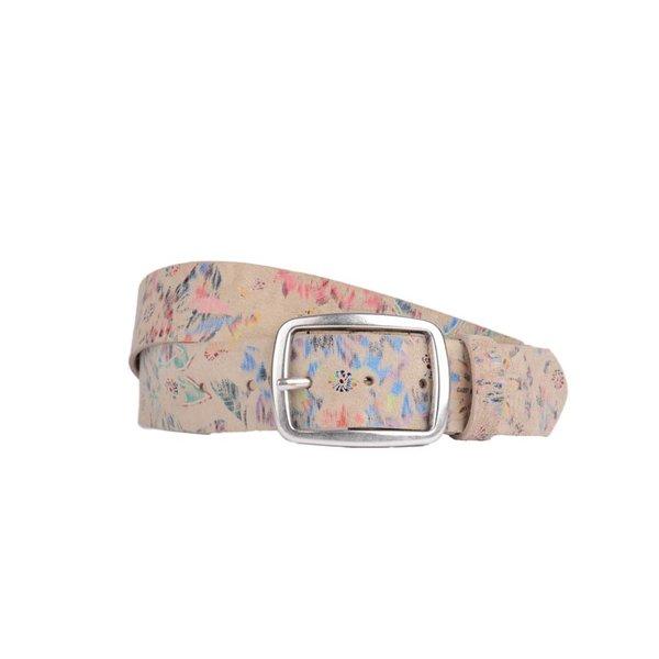 vrolijke beige leren damesriem met glimmende bloemenprint met bijpassende armband