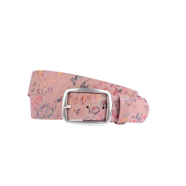 vrolijke roze leren damesriem met glimmende bloemenprint met bijpassende armband