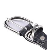 Cintura stoere zwarte leren damesriem met witte versieringen