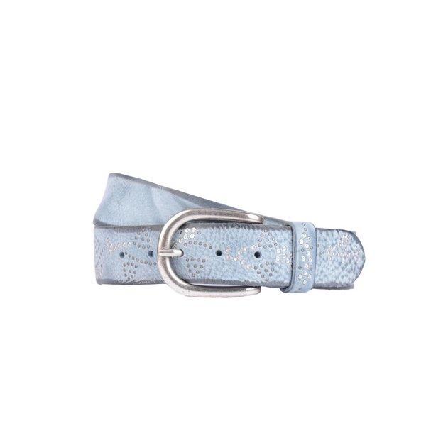 luxe lichtblauwe leren damesriem met zilveren steentjes