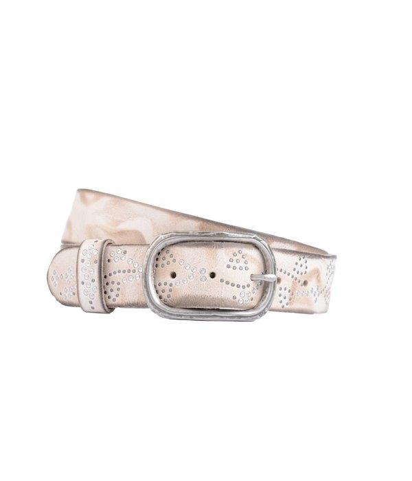 Cintura luxe beige leren damesriem met zilveren steentjes