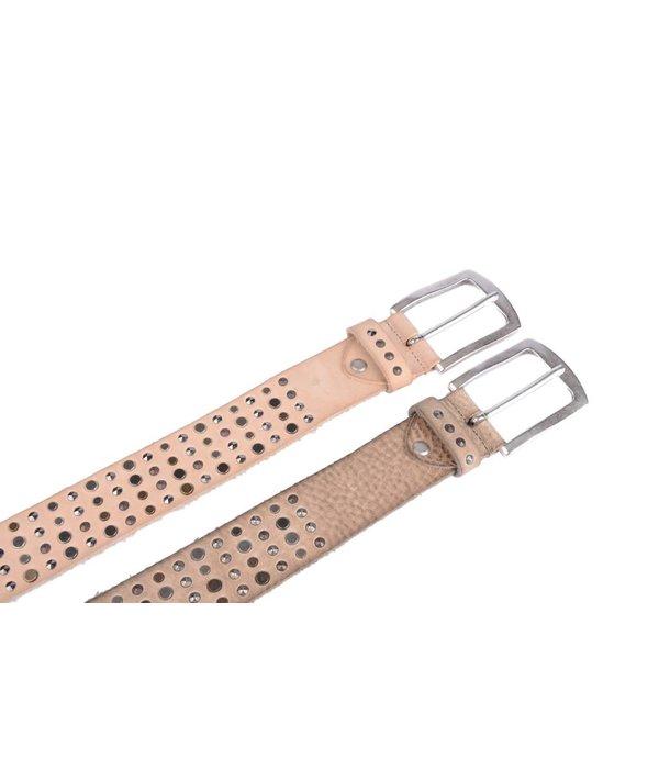 Cintura luxe grove beige leren damesriem met zilveren studs