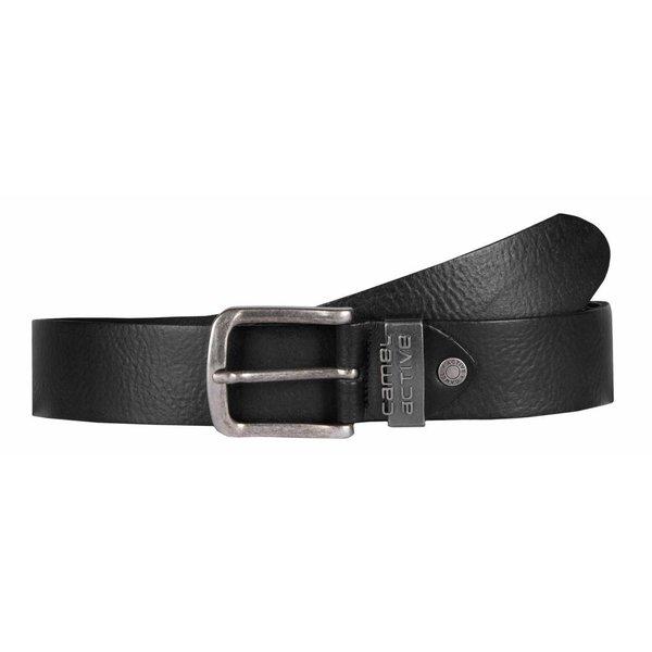 luxe stoere zwarte riem met zilveren lus