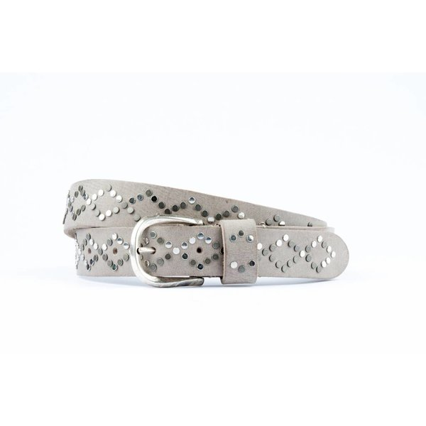 Grijze luxe elegante leren riem met zilveren studs