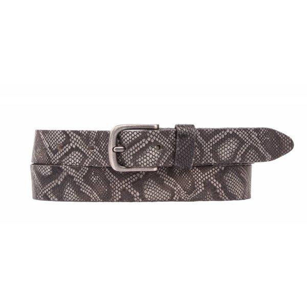 grijze luxe leren riem met slangenstructuur