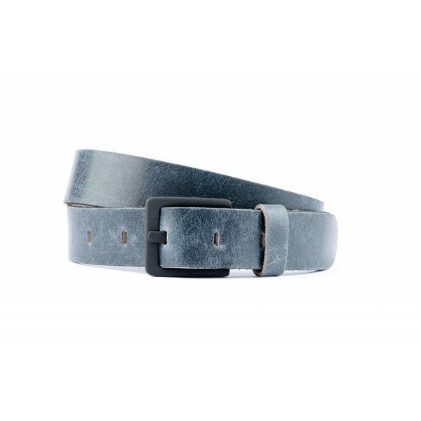 blauwe luxe leren riem met mat zwarte gesp