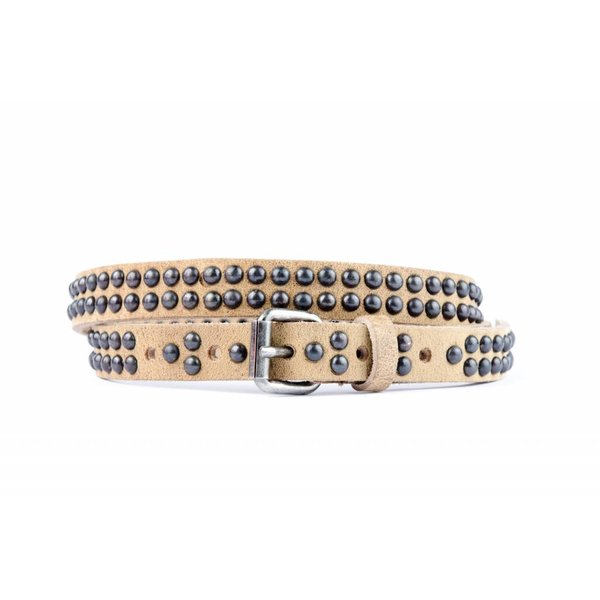 smalle taupe riem met ronde studs
