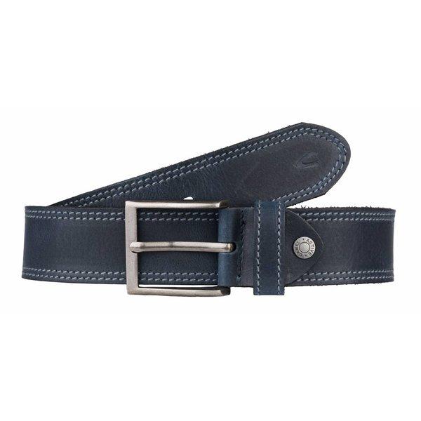 luxe stoere blauwe riem met dubbele stiksels