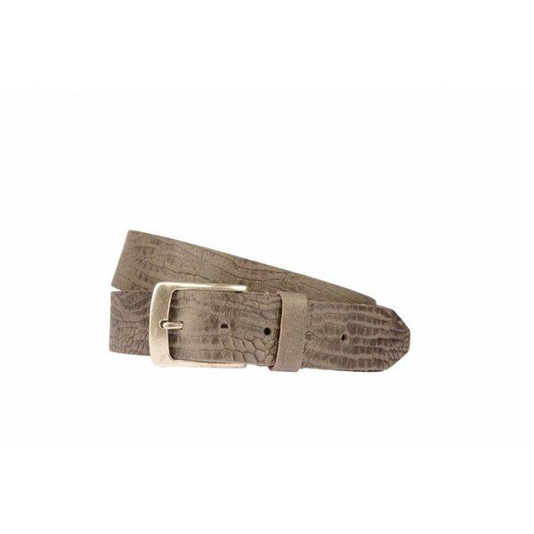 Stoere taupe riem met croco structuur