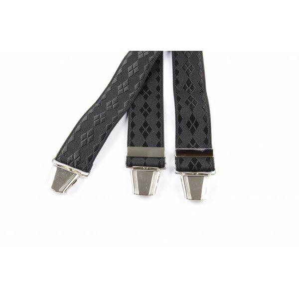Zwarte bretels met ruit dessin