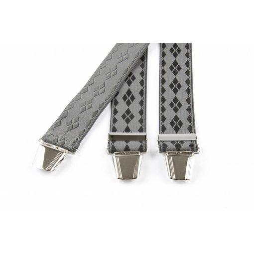 Pierre Mouton Licht grijze bretels met ruit dessin