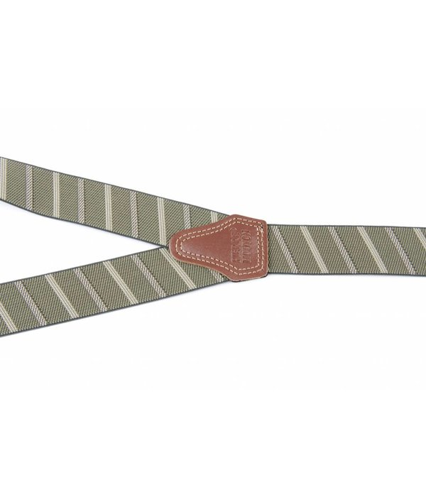Pierre Mouton Brede groene gestreepte Bretels - extra sterke clips