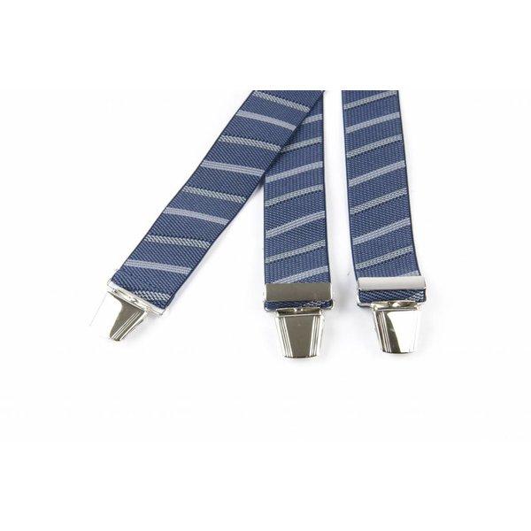 Blauw - grijs schuin gestreepte bretels