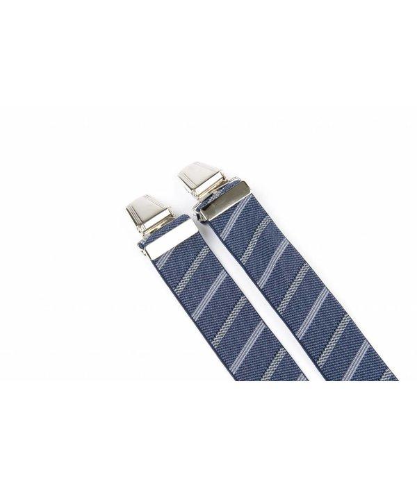 Pierre Mouton Brede blauw grijs gestreepte Bretels - extra sterke clips