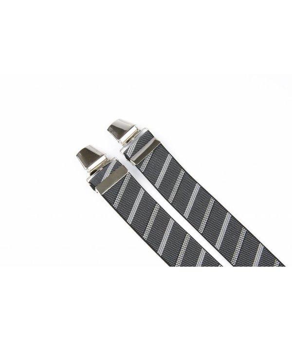 Pierre Mouton Brede zwarte grijze gestreepte Bretels - extra sterke clips