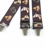 Pierre Mouton Bruine Bretels met paarden dessin - extra sterke clips