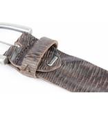 Alberto riemen Luxe herenriem met unieke structuur in donker bruine kleur